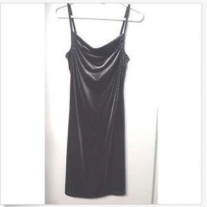 Gray Velvet Dress Sleeveless Draping Neck Prom